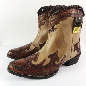 [ROPER]Abigale Western Wing Tip Leather Boots NEW